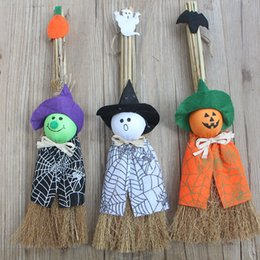 Wholesale Wholesale Witches Brooms - Halloween Props Broom Decoration Party Favor Pumpkin Wizard Ghost Female Witch Cartoon Cute Doll Kid Toy Multi Pattern 6 5sl F R