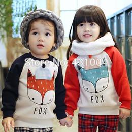 Wholesale sweat winter children - Wholesale- winter children warm sweat foxes shirts boys girls thicken velvet hoodies shirt kids cute soft coat baby cotton shirt
