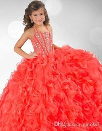 Wholesale Best Wedding Gown Designers - Best sellingCute Girls Pageant Gowns Beaded Halter Ball Gown Ruffled Backless Lace Up Charming Formal Graduation Dresses Flower Girl Dresses