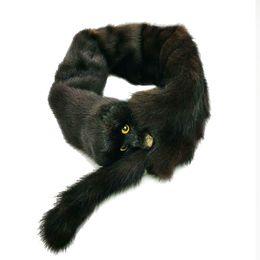 Wholesale Mink Fur Scarf Black - Genuine Mink Fur scarf Christmas Gift muffler Fluffy neckerchief Pompom handkerchief Real mink Fur Pompom