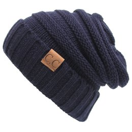 Wholesale Label For Cable - Winter Knitted Woolen CC Trendy Hat Label Fedora Luxury Cable Slouchy Hats Fashion Beanies Thick Warm Hat Outdoors 2017 New for Mens Women