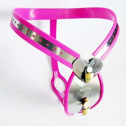 Wholesale Stainless Steel Chastity Belt Tube - Pink Male Chastity Device Stainless Steel Model-Y Adjustable Chastity Belt With Cock Cage Urine Tube BDSM Bondage Sex Toys For Men
