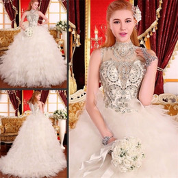 Wholesale Dresses Swarovski Crystal Beading - Luxury Swarovski Crystals Diamond Wedding Dresses Beaded Empire Waist Tulle Ruffle Tiered Sheer High Neck Lace-Up Ball Gown Bridal Gowns