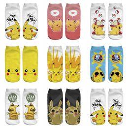 Wholesale Man Hosiery - Adult emoji Poke Socks Pikachu Squirtle Ash Boat Monster Ankle Poke go Pikachu Ship Ball Slippers Hosiery women men summer autum 3d socks