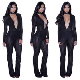 Wholesale Cut Out Saw - 2017 Women New Fashion Sexy See Through Jumpsuits Bodysuits Ladies Boot Cut Party Bodycon Bandage Playsuits Club Autumn Vestidos Rompers