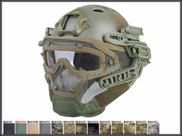 Wholesale Tactical Helmet Face Mask - New Tactical Full face cover protection mask helmet with Goggle for PJ vent Airsoft Paintball WarGame CS Tactical Hunting