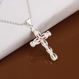 Collar de pandent de cristal cruzado clásico plateado plata esterlina 925 hermosa hermosa N406 desde fabricantes