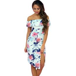 Mode neue Sommer Frauen Kleider Blüte weg von der Schulter hohen Schlitz Floral gedruckt High-low bodycon Kleid Vestidos Mujer von Fabrikanten