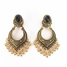 Wholesale 14k Vintage Earrings - Gold Plated Charm Tassel Drop Dangle Earrings Jhumka Women Jewelry Gift Vintage Bohemia Party Earrings Fashion Earrings