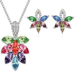 Wholesale Ladies Fashion Ornaments - Austria Crystal Diamond Flower Pendant Necklace DHL And Earrings Female Silver Jewelry Set Fashion Accessories Ornaments for Lady Xmas Gift
