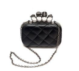 Wholesale Black Skull Purses - Wholesale- new vintage Skull purse Black Skull Knuckle Rings Handbag Clutch Evening Bag The chain inclined shoulder bag js290