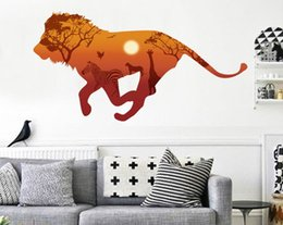 Wholesale Peel Stick Decals - Free Shipping Lion Animal Print Home Decoration Living Room Television Walls Decal Wall Stickers