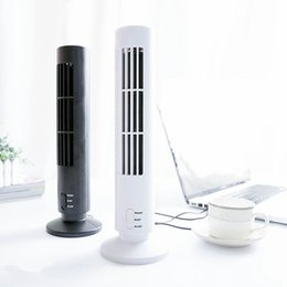 Wholesale Strong Cool Usb - 2017 hot Mini USB Leafless Tower Fan Ultra-quiet Strong Wind 2 Speed Desk USB Cooling Fan for Home Computer Office