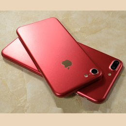 Wholesale Iphone Skin Screen Protectors - Popular for Apple iphone 7 Red Matte Metallic back cover and edge Stickers skin Cell Phone Protector Screen Cover for iphone 5 6 6splus 7plu