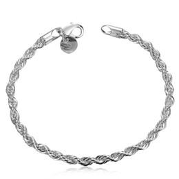 Wholesale Twisted Rope Chain Link - Amazing 925 Silver Plated Bracelet 4MM Width Twist Rope Chain Bracelet Men's Bracelet Jewelry New Hot