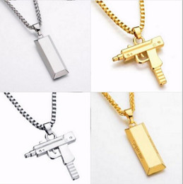 Wholesale Gun Jewelry Charms - Fashion Jewelry Hip Hop Dance Charm Gun Necklace Star Jewelry Men Franco Chain Hiphop Golden Necklace