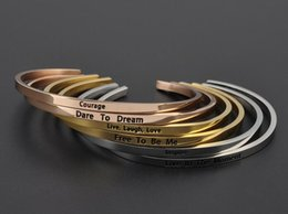 Wholesale 18k gold bracelet thin - Wholesale custom jewelry Positive Inspirational Quote MantraBand Bracelet Stainless Steel Thin Cuff Bangle Gold Pleated