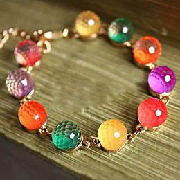 Wholesale Rainbow Crystal Gemstone - Colorful Candy Colored Bracelet Gemstone Bracelet Beads Tassel Hand Chain Korean Jewelry Crystal Rainbow Bracelet