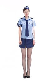 Wholesale Top Copped - Costumes Fantasia Cosplay Fancy Uniforms Sexy Cop Uniform Uniform Temptation Policewoman Uniforms Light Blue Tops Dark Blue Short skirt Blu