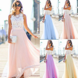 Wholesale Lace Night Gowns - New Fashion UK Women Long Lace Chiffon Evening Formal Party Ball Gown Prom Brides Maxi Dress
