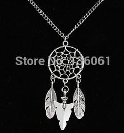 Wholesale Dream Catcher Necklace Charms Wholesale - Vintage Silver Arrow Head Necklace &Pendants 10pcs Feather Dream Catcher Charms Statement Collar Choker Dress Jewelry X1061