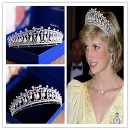 Wholesale Princess Diana Wedding Plate - Princess Queen Diana Crown Tiara Vintage Wedding Bridal Crystal Rhinestone Hair Accessories Freshwater Pearl Zircon Headdress Jewelry Silver