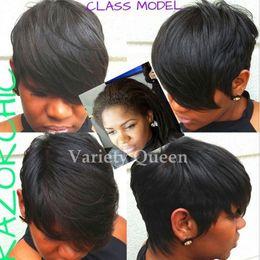 Wholesale Hair Wig Bangs - Short Cut Human Hair Wig Brazilian Hair Short bob wigs For Black Women Lace Wigs With Bangs Human Hair Pixie Wigs