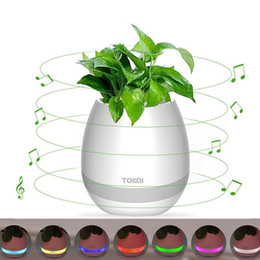 Wholesale flower play - Smart Bluetooth Music Flowerpot Touch Wireless Speaker LED Light Colorful Creative Music Playing Flower Pots Pink Blue White
