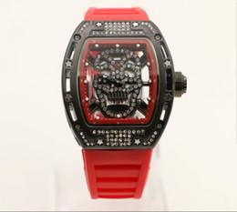 Relógio de pulso crânio on-line-Crânio Tourbillon tonneau mens relógio de pulso 43mm esqueleto de diamante relógio de quartzo relógios de safira transparente de vidro de volta elástico vermelho No 18