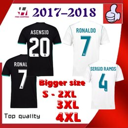 Wholesale Bigger Sizes - Bigger size XXL XXXL 4XL Players Or fans 2017 2018 Reals Madrid Ronaldo jersey MODRIC BALE KROOS ISCO BENZEMA Camisa ASENSIO jersey