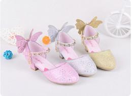 Wholesale Golden Medium Heel Shoes - Girls Pricness Shoes New Butterfly Children High Heels Sequined Rhineston Summer Kids Sandals Autumn Girl Shoes Pink Golden Silver C1421