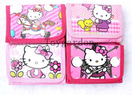 Wholesale Cute Purses For Girls - 24PCS hello kitty wallet cute KT coin purse cartoon pocket for girls children best gift