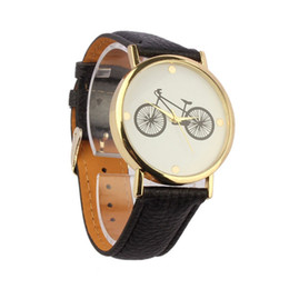 Wholesale Times Wrist Watch - Wholesale- Women Men Fashion Casual Bicycle Pattern Dial Hour Leather Band Quartz Analog Wrist Watch for Men relogio masculino time clock