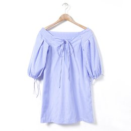 Wholesale Student Dresses - WHOLESALE (50pcs LOT)- LADY STUDENT Blue and white striped lantern sleeves GIRL CAUSAL TRAVEL dress