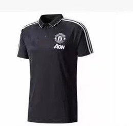 Wholesale Quick Drying Polo - Top quality New 2017 2018 soccer Jersey 17 18 man United soccer POLO t-shirt Rooney Rashford MATA Football polo shirts