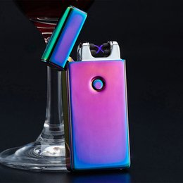 Wholesale Thin Sale - Electronic Lighter DUAL Arc Windproof Ultra-thin Metal Pulse USB Rechargeable Flameless Electric Arc Cigar Cigarette Lighter Hot Sales