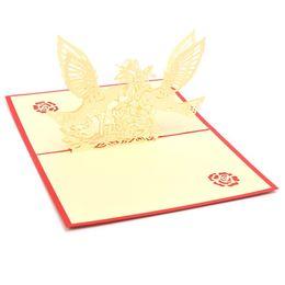 Wholesale Birthday Wedding Wishes - Wholesale- New 2Pcs 3D Pop Up Greeting Cards Bird Flower Fly Wing Wishes Anniversary Card Handmade Kirigami Birthday Wedding Decoration