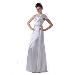 Wholesale Good Wedding Pictures - 2017 Autumn Collection One Shoulder Formal Wedding Dress Floor Length Beaded Waistline Good Quality Bridal Gown