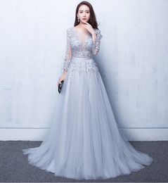 Wholesale Elie Saab Dresses Cheap - Sexy Illusion Evening Dresses Lace Formal 2017 Elie Saab Prom Dresses Gowns With A Lace Applique Beads Crew Neck Long Sleeves Cheap ADE017