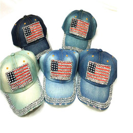 Wholesale jean hats wholesale - Denim Diamond USA Nation Flag Design Jean Baseball Cap Hip Hop Hat Jean Hats Adjustable Hat Fashion Caps Curved Baseball Hat