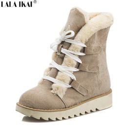 Wholesale Women Snow Boots Size 11 - Wholesale- 2016 Warm Fur Women Winter Boots Nubuck Leather Lace up Platform Snow Boots Plus Size 10 11 12 Boots Winter Shoes XWN0358-5