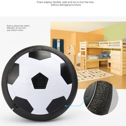 Wholesale Soft Soccer Balls - 2017 Led Air Power Soccer Ball Disc Indoor Football Toy Multi-surface Hovering and Gliding Toy Soft Foam Floating 2107329