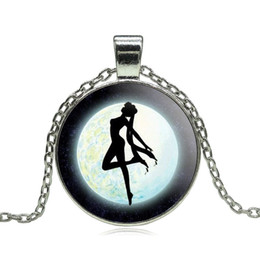 Wholesale Sailor Vintage - Wholesale-Anime Sailor Moon Glass Cabochon Pendant Necklace Tibetan silver vintage jewelry Statement Chain Necklace for Women Girl Gift
