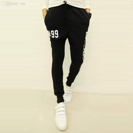 Wholesale Cheap Harem Pants - Wholesale-2015 Fashion Letter Print Designer Harem Pants Men Hip Hop Pants Stylish Cheap Mens Joggers Sport Running Sweatpants Black Grey