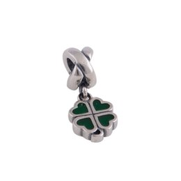 Wholesale Genuine 925 Ale Sterling Silver - Genuine S925 Sterling Silver Beads Sterling Silver Four Leaf Clover Dangle For European Brand Bracelets 925 ALE L071