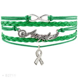 Wholesale Infinity Hope - Infinity Love Angel Wings Awareness Hope Ribbon Charm Bracelets for Women Men Jewelry Green Purple Leather Wrap Wristband Custom