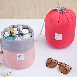 Wholesale Wholesale Korean Packaging - Hot Sale Cosmetic Bag Korean Style Barrel Shaped Storage Bag Washing Package Waterproof Rope Drawn Multi - Functional Travel Bag