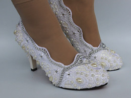 Wholesale White Lace Wedding Pumps - Sweet Women High Heel Dress Shoes white lace crystal pearl Wedding Bridal shoes size 5-9.5