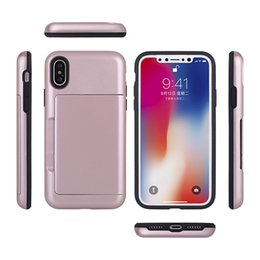 Wholesale Plastic Fingerprints - New Shockproof Anti Fingerprint TPU PC Case 2 In 1Cover With Card Slot For iPhone X 8 7 6 6s Plus Samsung S8 Plus With OPP BAG