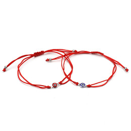 Wholesale Man Evil Eye Bracelet - Wholesale- Best Selling Thin Red Thread Evil Eye Charms Bracelet String Rope Braided Bangles Bracelets For Women Men Adjustable Length